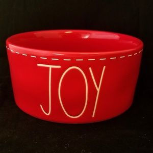 Rae Dunn JOY Bowl ~ Red LL Stitching